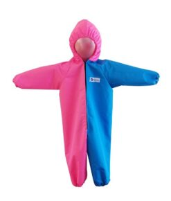 Turquoise and Pink Waterproof Coveralls / Rainsuit for babies, toddlers and children