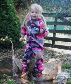 Kids Pink Camo Coveralls