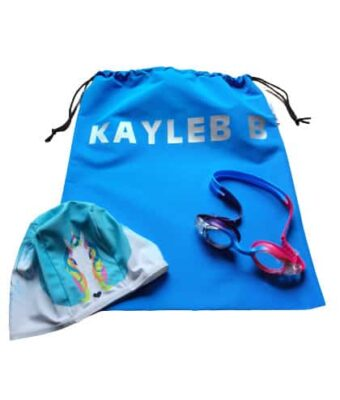 Kids Swim Pack - a NZ-made swim bag, kids goggles + kids swim cap