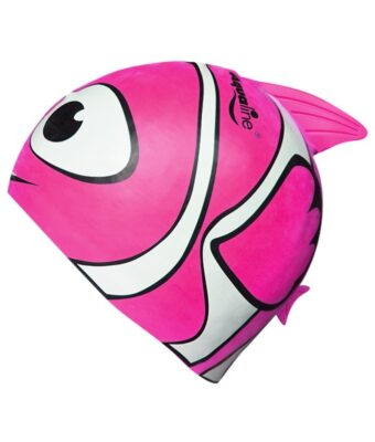 Bright pink fish kids swim caps