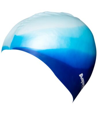 Blue/white silicone kids swim caps