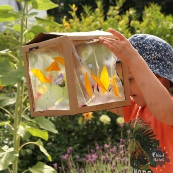 A young boy looking into his spring themed 3D box nature suncatcher