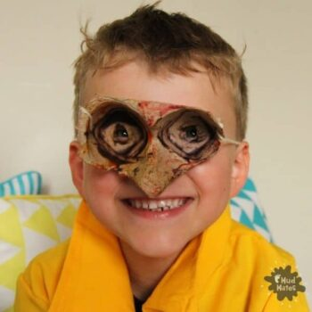 Egg Carton Crafts for Kids - child wearing egg carton goggles