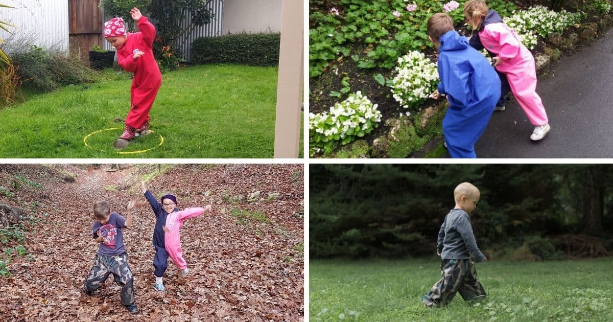 Collage of pictures of young children enjoying play outside wearing Mud Mates NZ-made waterproof clothing